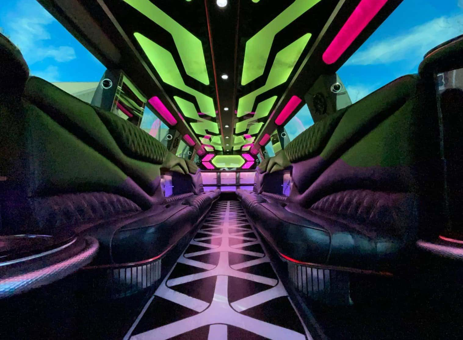 Interior with Lighting for Escalade Limo