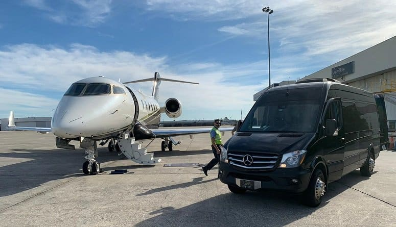 Executive Mercedes Sprinter and Private Jet at FBO Airport