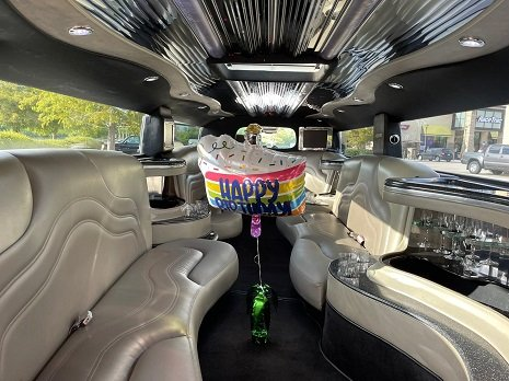 Hummer Limo Interior in the morning daylight