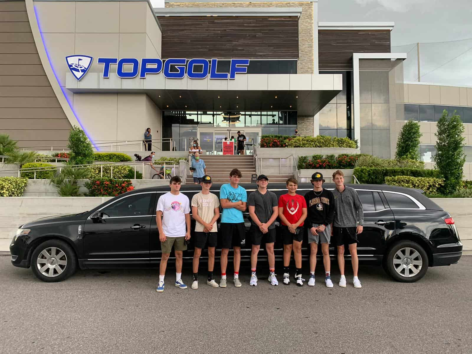 Boys Outing at Top Golf in a Limo