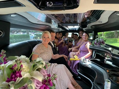 Bride's Family in a Hummer Limo