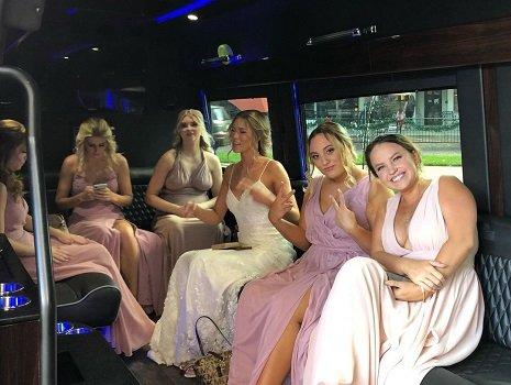 Sprinter Limo Wedding Bride and Girls